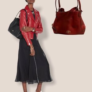Red Currant Coach Edie Leather Shoulder Bag